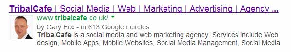 social media authorship as it appears on a google search