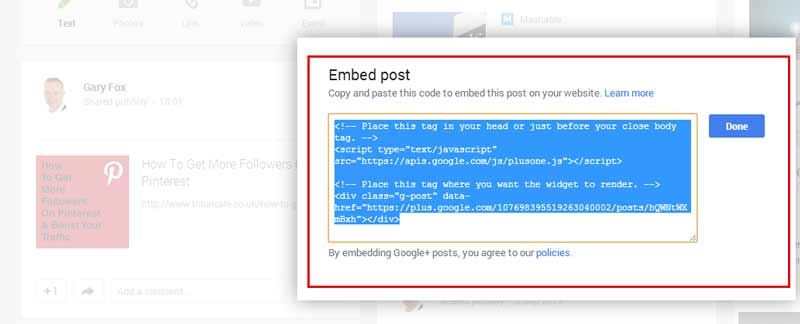 how to embed a google+ post into wordpress