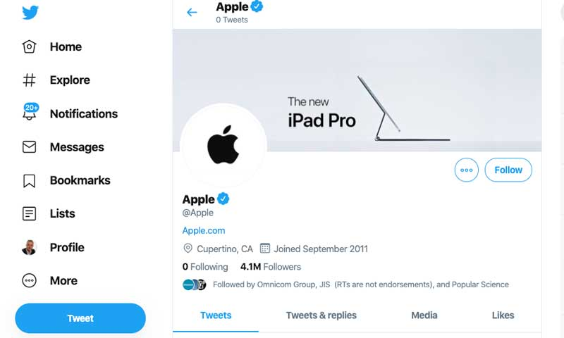 The Apple Business model doesn't use Twitter as a marketing channel.